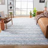 Highland Dunes Leonard Striped Handmade Flatweave Blue/Ivory Area Rug Polyester/Cotton in White, Size 96.0 W x 0.31 D in | Wayfair