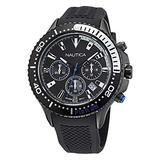 Nautica Men's Stainless Steel Quartz Silicone Strap, Black, 22 Casual Watch (Model: NAPP25F17)