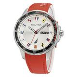 Nautica Men's Stainless Steel Quartz Silicone Strap, Red, 22 Casual Watch (Model: NAPCLF002)