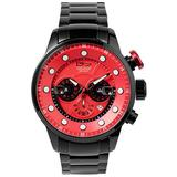 Daniel Steiger Men's Maverick Watch - Colorful Dial Sports Watch - Stainless Steel Bracelet - Quartz Chronograph Movement - 100M Water Resistant - Magnificent Presentation Case Included (Red Dial)
