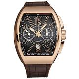Franck Muller Men's 'Vanguard' Swiss Automatic Chronograph Watch - Brown Dial with Rose Gold Luminous Hands and Date - Sapphire Crystal and Brown Leather Strap - 18K Rose Gold Watch 45CCGLDBRNGLD1