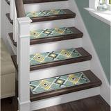 The Sofia Rugs Stair Tread Synthetic Fiber in Green, Size 2.0 H x 28.0 W x 9.0 D in | Wayfair STAIR-4557A-WW