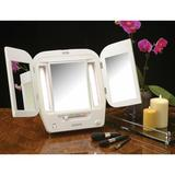 Rebrilliant Lockheart Tabletop Dual Sided Tri Fold Lighted Makeup Mirror w/ Built-In OutletPlastic in White, Size 12.5 H x 22.0 W x 2.25 D in
