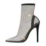 Richealnana Sparkle Rhinestone Women Embellished Cutout High Heel Sandal Ankle High Thigh Socks High Thigh Fishnet Stockings High Heels Dress Pumps Black Size 7.5