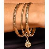 West & Company Jewelry Women's Bracelets Goldtone - Goldtone Hammered Cross Charm Bangle Set