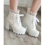 BUTITI Women's Casual boots white - White Lace-Cuff O-Ring Platform Ankle Boot - Women
