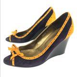 J. Crew Shoes   J. Crew Etta Suede Leather Peep Toe Wedge Heel   Color: Orange/Purple   Size: 7