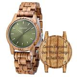 Personalized Wood Watches, shifenmei Engraved Watches for Women Her Anniversary Birthday Graduation Custom Wooden Wrist Watches with Wooden Box (B-Green Custom)