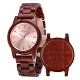 Personalized Wood Watches, shifenmei Engraved Watches for Women Her Anniversary Birthday Graduation Custom Wooden Wrist Watches with Wooden Box (B-Red Custom)