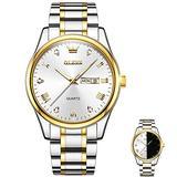 OLEVS Wrist Watch for Men, Luxury Big Face Men's Classic Day Date Watch with White Dial Waterproof Fashion HD Luminous Casual Business Quartz Watches Men Watches, Reloj de Hombre