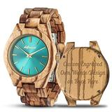 Personalized Wood Watches, shifenmei Engraved Watches for Women Her Anniversary Birthday Graduation Custom Wooden Wrist Watches with Wooden Box (A-Zebra Custom)
