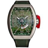 Franck Muller Men's 'Vanguard' Swiss Automatic Watch - Green Dial with Grey Luminous Hands and Date - Sapphire Crystal and Green Leather with Rubber Underside Strap 45SCGRNUNLCK