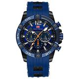 Watches Mens Sport Wterproof Multi-Function Quartz Watch Men Silicon Leather Strap Chronograph Wrist Watch for Quartz Analog Dual Movement (Black Blue)