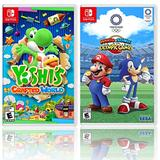 Yoshi's Crafted World + Mario and Sonic at the Olympic Games Tokyo 2020 - Two Game Bundle - Nintendo Switch