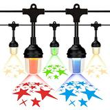 Hanging Outdoor Christmas String Lights, Colored Projector Decorative Led String Lights, 10 Led Plastic Bulbs Waterproof Patio Lights Outdoor Café Patio Lights for Bistro Garden