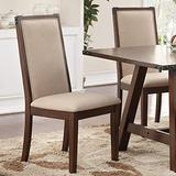 Poundex Set Of 2 Comfortable Rubber Wood Dining Chair, Brown