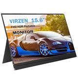Portable Monitor Display 1920x1080 15.6-inch Super Thin IPS Gaming Monitor Screen USB-C for Laptop Computer Mac Phone HDMI Device,PS4 Xbox,Nintendo,Raspberry pi,Mac Mini,Mobile with Leather Case (Renewed)