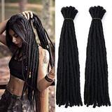 "16"" Human Hair Dreadlocks Extensions Can Be Dyed Full Handmade Crochet Loc Human Hair Extensions Dread Lock Human Hair Bundles 20 Stands Natural Color 118g"