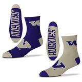 Men's For Bare Feet Washington Huskies 2-Pack Team Quarter-Length Socks