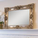 SBC Décor Mayfair Beveled Wall Mirror Wood in Yellow, Size 48.0 H x 35.5 W x 4.5 D in | Wayfair M07681