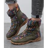 PAOTMBU Women's Casual boots GREEN - Green Geometric Boot - Women