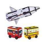 PicassoTiles Toy Building Sets - Rocket, Train & School Bus Set
