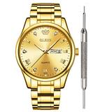 OLEVS Gold Watches for Men Waterproof Mens Gold Watch Fine Fashion Young Wrist Watches for Men Day Date Analog Quartz Watch Classic Couple Calendar Watches