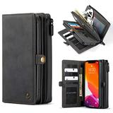 """WintMing Compatible with iPhone 12 Mini 5.4"""" Wallet Case 17 Card Holder Flip Leather Case Magnetic Detchable Multi-Function Money Purse Protective Cover (Black, 12 Mini(5.4""""))"""