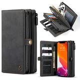 """WintMing Compatible with iPhone 12 6.1"""" Wallet Case 17 Card Holder Flip Leather Case Magnetic Detchable Multi-Function Money Purse Protective Cover for 12 Pro 5g (Black, 12(6.1"""")/12 Pro(6.1""""))"""