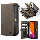 """WintMing compatible with iPhone 12 Pro Max 6.7"""" Wallet Case 17 Card Holder Flip Leather Case Magnetic Detchable Multi-Function Money Purse Protective Cover for 12 Pro Max 5g (Coffee, 12 Pro Max(6.7""""))"""