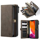 """WintMing Compatible with iPhone 12 6.1"""" Wallet Case 17 Card Holder Flip Leather Case Magnetic Detchable Multi-Function Money Purse Protective Cover for 12 Pro 5g (Coffee, 12(6.1"""")/12 Pro(6.1""""))"""