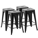 FDW 24 Inches Bar Stools Set of 4 Counter Stool Barstools Indoor/Outdoor Metal Bar Stools Stackable Modern Metal Bar Stools Kitchen Counter Stools Chairs (Black)