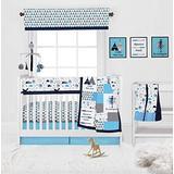 Bacati Woodlands Aqua/Navy/Grey Boys 10-Piece Nursery in a Bag Baby Boy Nursery Crib Bedding Set with Long Crib Rail Guard for US Standard Crib 100 Percent Cotton