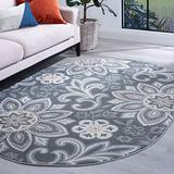 Piper Dark Gray 5x8 Oval Area Rug for Living, Bedroom, or Dining Room - Transitional, Floral