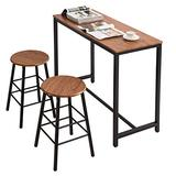 Knocbel Simple Dining Table Set for 2, Kitchen Bar Dining Room Set with Counter Height Pub Table & Stools (Wood Grain and Black)