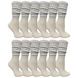 12 Pack Yacht & Smith Womens Cotton Slouch Socks, Womans Knee High Boot Socks (White)