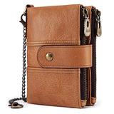 Earning Power Mens Wallet RFID Blocking Soft Genuine Leather Gents Wallet With Chain, Double Zipper and Coin Pocket, Small Mens Bifold Wallets 16 Card Holder (Khaki)
