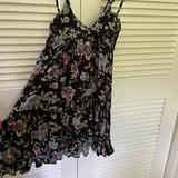 American Eagle Outfitters Dresses | Floral Babydoll Dress | Color: Black | Size: Xs