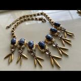 J. Crew Jewelry   Euc Jcrew Blue Marbled Cabochan Dangle Necklace   Color: Blue/Gold   Size: Os