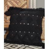 Signature Design by Ashley Furniture Throw Pillows Black - Black Mordechai Tassel-Detail Throw Pillow