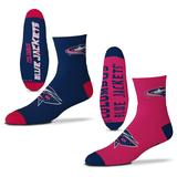 Men's For Bare Feet Columbus Blue Jackets 2-Pack Team Quarter-Length Socks