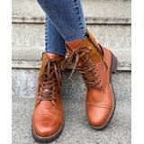 PAOTMBU Women's Casual boots YELLOW - Yellow Buckle-Accent Combat Boot - Women