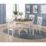 Roundhill Furniture Prato 5-Piece Round Dining Table Set with Cross Back Chairs, Antique White and Distressed Oak