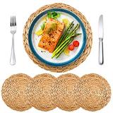 """MDLUU Water Hyacinth Placemats, 13.8"""" Woven Placemats, Rattan Placemat, Round Table Mats for Home, Wedding, Christmas, Dining Table Decor, Pack of 4"""