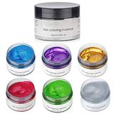 6 Colors Hair Color Wax Dye-6 in1 Temporary Instant Unisex Natural Hair Color Wax Mud,Washable Moisturizing Modelling Fashion colorful Hair Color Wax,Natural Matte Hairstyle Hair Color Pomade Dye Cream for Men Women Kids Party Cosplay