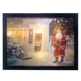 Kurt Adler Battery-Operated 3D LED Framed Scene & Santa Art Plastic in Red/Yellow, Size 11.5 H x 15.7 W x 1.1 D in | Wayfair H6511