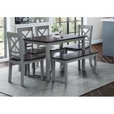 Solid Wood Dining Set - Jofran Jagger 6 - Piece Acacia Solid Wood Dining Set Table Base, Chair, Bench, Wood/Solid Wood, Gray, Medium