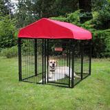 Lucky Dog Kennel Cover w/ Sunbrella® Fabric Metal in Red, Size 12.0 H x 48.0 W x 48.0 D in | Wayfair SNKC4X4-SE0210