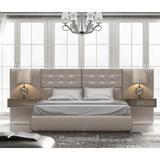 Hispania Home Klass Solid Wood Upholstered Platform Bed Wood & Upholstered/Upholstered/Faux leather in Brown, Size 64.0 W x 80.0 D in   Wayfair