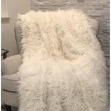 Plutus Brands Mongolian Faux Fur Acrylic Blanket Faux Fur/Fleece & Microfiber/Acrylic in White, Size 80.0 H x 110.0 W in | Wayfair PB16421-80x110T